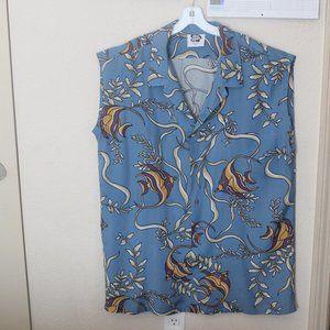 Vintage 80s HIla Hattie Men's Blue Fish Shirt Size